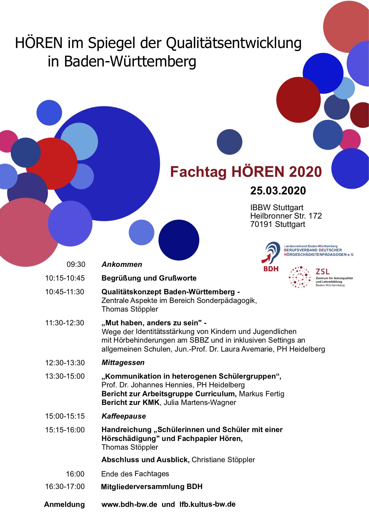 Einladung zum Fachtag HÖREN 2020